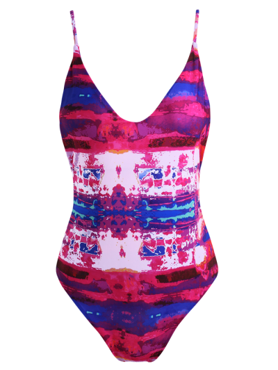 Strappy Tie-Dyed One-Piece Swimwear - RED M Mobile