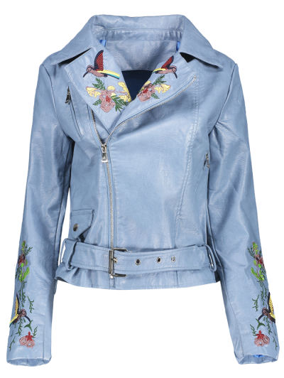 Embroidered Lapel Collar Faux Leather Jacket - Azure