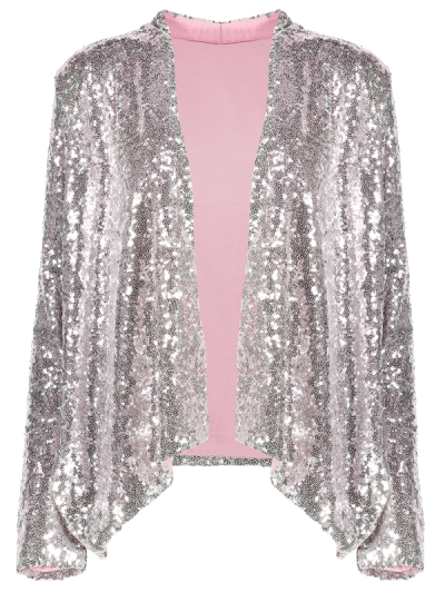 Asymmetric Long Sleeve Sequins Coat - SILVER 2XL Mobile
