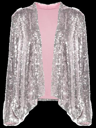 Asymmetric Long Sleeve Sequins Coat - SILVER M Mobile