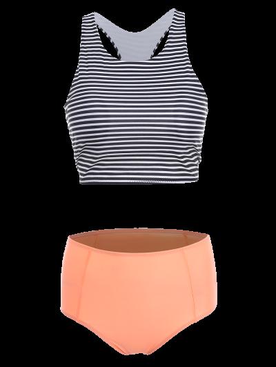 Stripe Round Neck High Waisted Bikini Set - ORANGEPINK M Mobile
