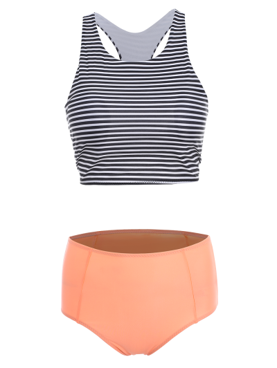 Stripe Round Neck High Waisted Bikini Set - ORANGEPINK L Mobile
