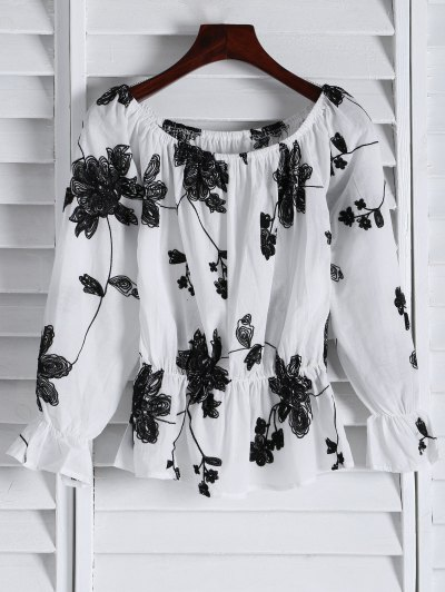 Frilled Embroidered Off The Shoulder Top - White