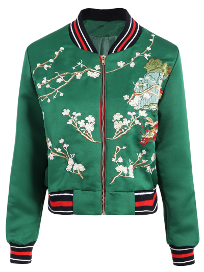 Flower Embroidery Bomber Jacket - Green