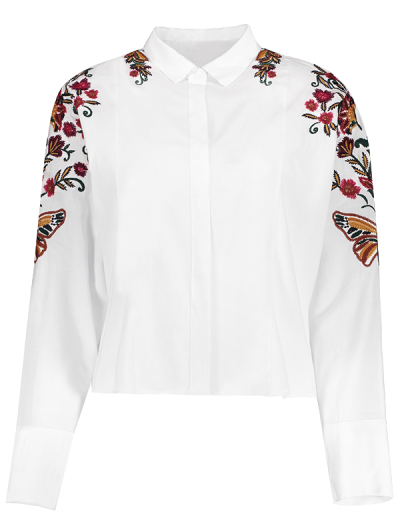 Cropped Flower Embroidered Shirt - WHITE L Mobile