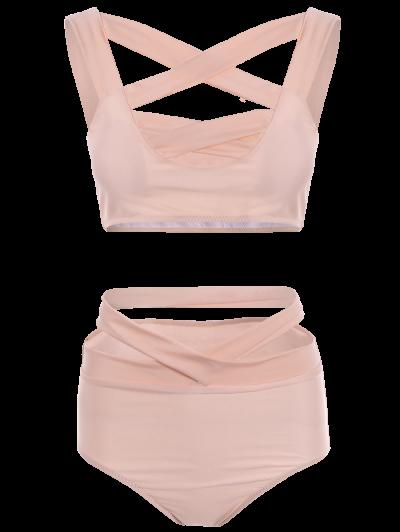 Crossover Cutout Bikini Set - PINK S Mobile