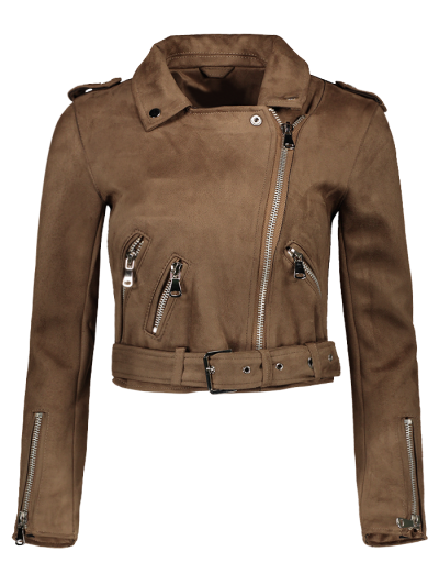 Lapel Zipper Pockets Suede Jacket - Khaki