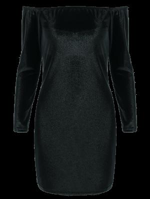 Off The Shoulder Long Sleeve Velvet Dress - Black