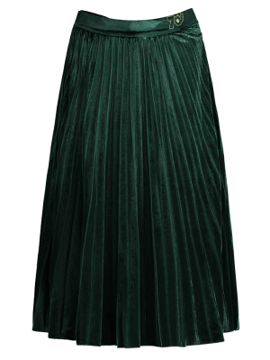 Velvet Pleated Midi Skirt - Green