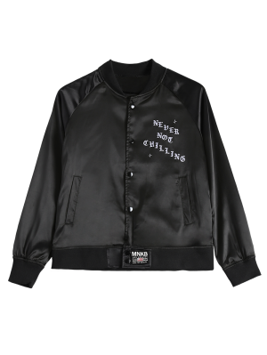 Graphic Bomber Jacket - Black
