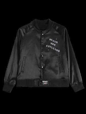 Graphic Bomber Jacket - Black