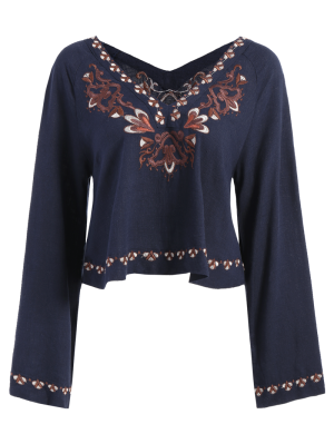 Double V-Neck Embroidered Blouse - Purplish Blue