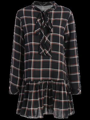 Bow Tie Collar Plaid Dress - Checked