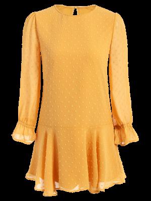Dotted Round Neck Ruffles Shift Dress - Yellow