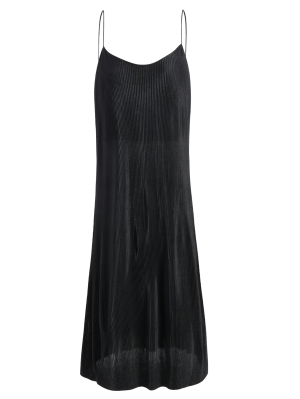 Pleated Slip Dress - Black