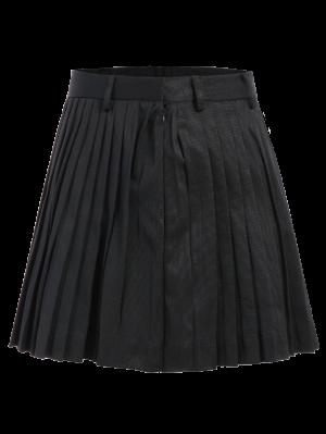 Pleated A-Line Mini Skirt - Black