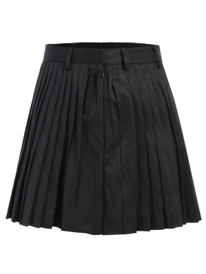 Pleated A-Line Mini Skirt - Black