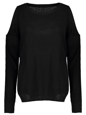 Loose Cold Shoulder Knitwear - Black