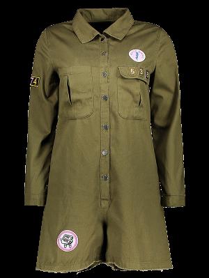 Print Patchwork Shirt Collar Long Sleeve Romper - Army Green