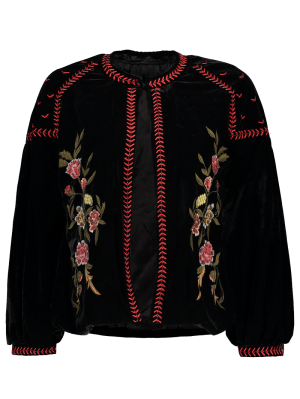 Embroidered Velvet Jacket - Black