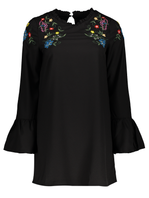 Frilled Embroidered Dress - Black