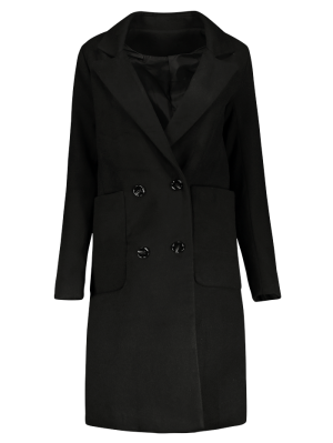 Double Breasted Wool Blend Midi Coat - Black