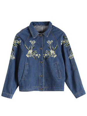 Contrast Floral Embroidered Denim Jacket - Denim Blue
