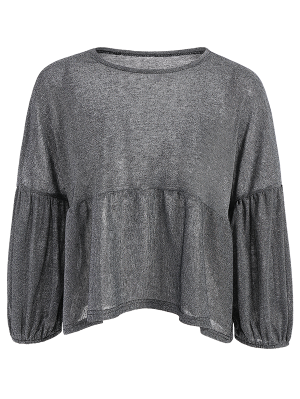 Puff Sleeve Cropped Smock Top - Gray