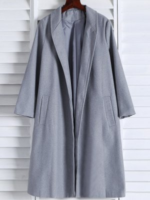 Shawl Neck Gray Wool Coat - Gray