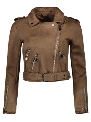 Lapel Zipper Pockets Suede Jacket