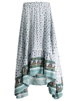 Patterned High Low Maxi Boho Skirt - White