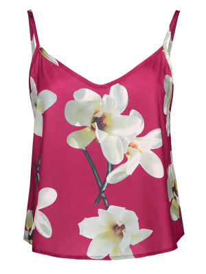 Adjusted Floral Satin Camisole - Red