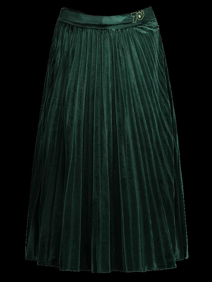 velvet pleated midi skirt green skirts zaful