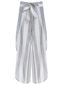 Asymmetric High Waisted Striped Pants - Gray