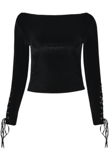 Lace Up Sleeve Round Neck Cropped T-Shirt - BLACK ONE SIZE