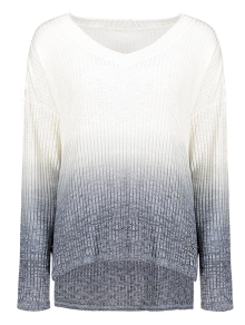 Ombre Color Oversized Sweater - Black M
