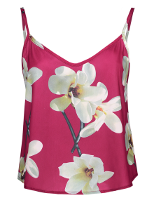 Adjusted Floral Satin Camisole - Red S
