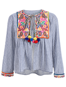 Ethnic Embroidery Round Neck Long Sleeves Blouse - L