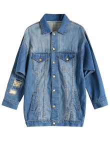 Turn-Down Collar Ripped Denim Coat - Denim Blue S
