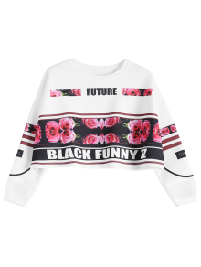 Floral Letter Print Cropped Sweatshirt
