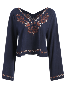 Double V-Neck Embroidered Blouse - Purplish Blue L