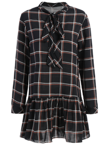 Bow Tie Collar Plaid Dress