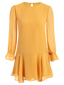 Dotted Round Neck Ruffles Shift Dress - Yellow