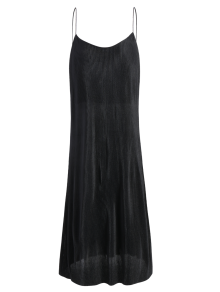 Pleated Slip Dress - Black S