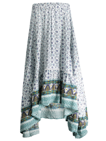 Patterned High Low Maxi Boho Skirt
