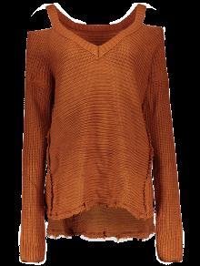 Distressed Cold Shoulder Sweater