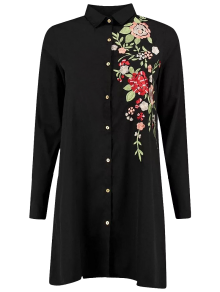 Floral Embroidered Long Sleeve A-Line Dress