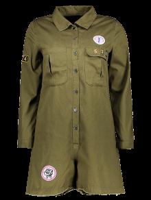 Print Patchwork Shirt Collar Long Sleeve Romper - Army Green M