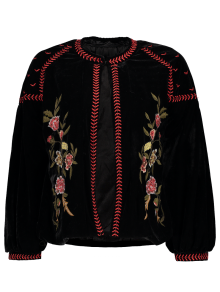 Embroidered Velvet Jacket - Black L