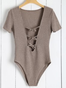 Ribbed Knit Tie Front Plunge Bodysuit - Light Brown